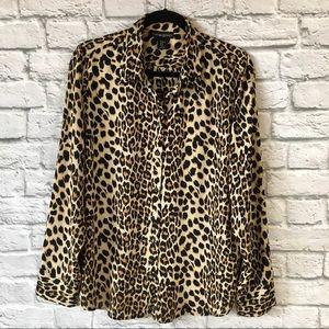 Cynthia Rowley Leopard Print Crepe Blouse Size XL